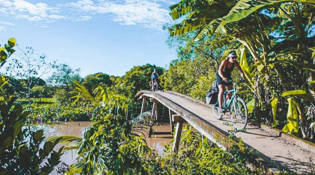 biking in Mekong Delta