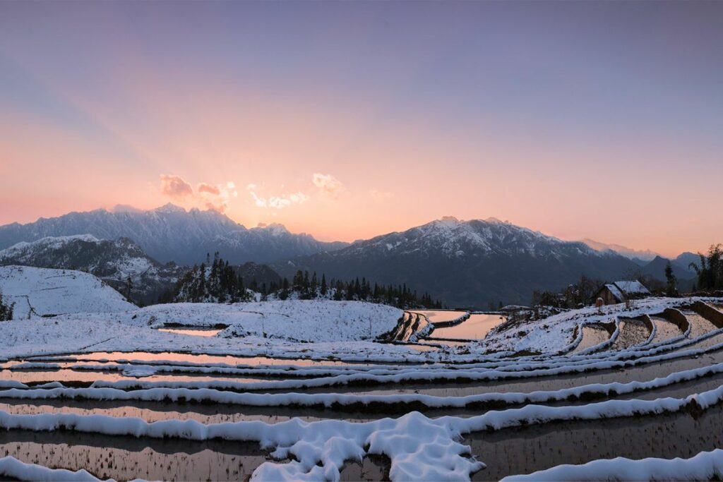 snow during the winter in Sapa